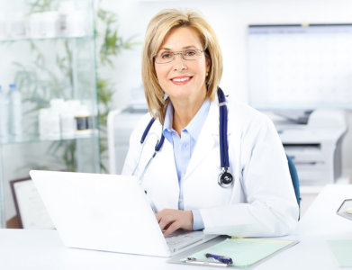 medical consultant smiling at the camera